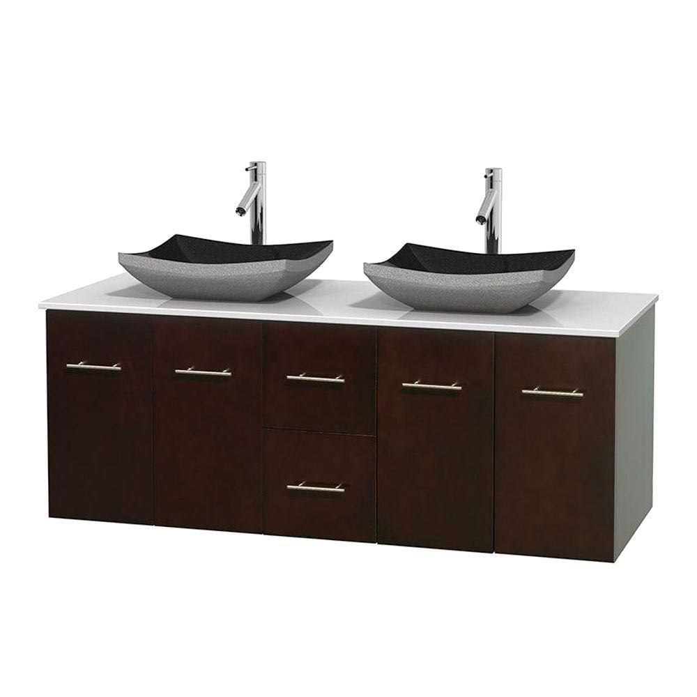 Centra 60-inch W Double Vanity in Espresso with Solid Top with Black Basins