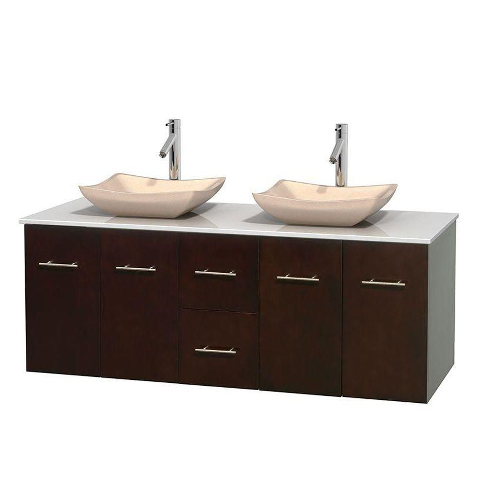 Centra 60-inch W Double Vanity in Espresso with Solid Top with Ivory Basins