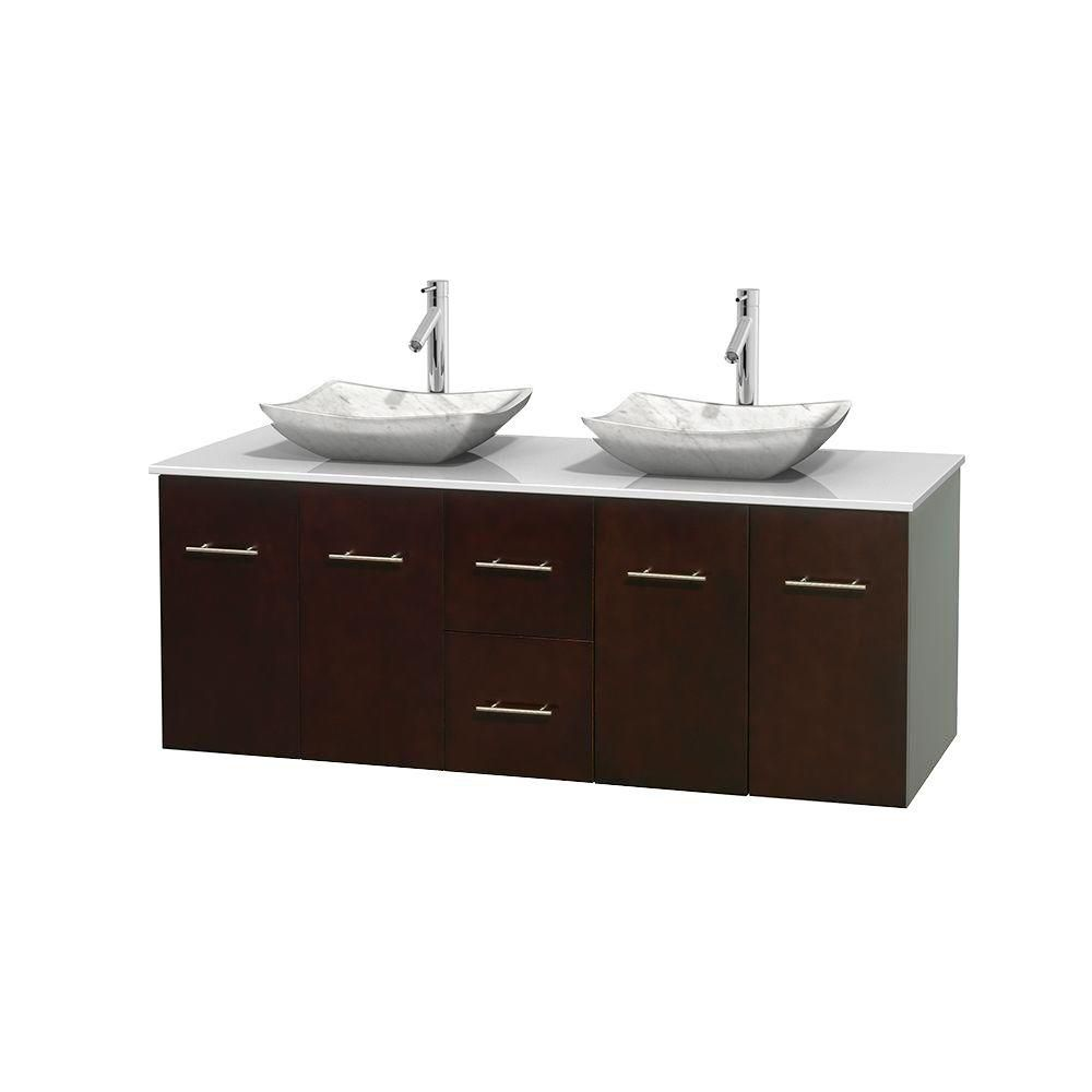 Centra 60-inch W Double Vanity in Espresso with Solid Top with White Basins