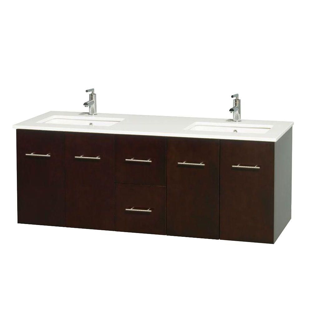 Meuble double Centra 60 po. espresso, comptoir solide, lavabos carrés sans miroir