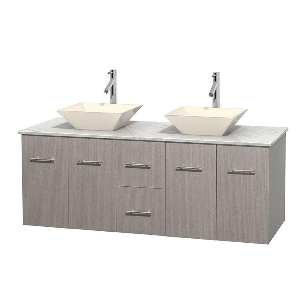 Centra 60-inch W Double Vanity in Grey Oak with White Top with Bone Basins