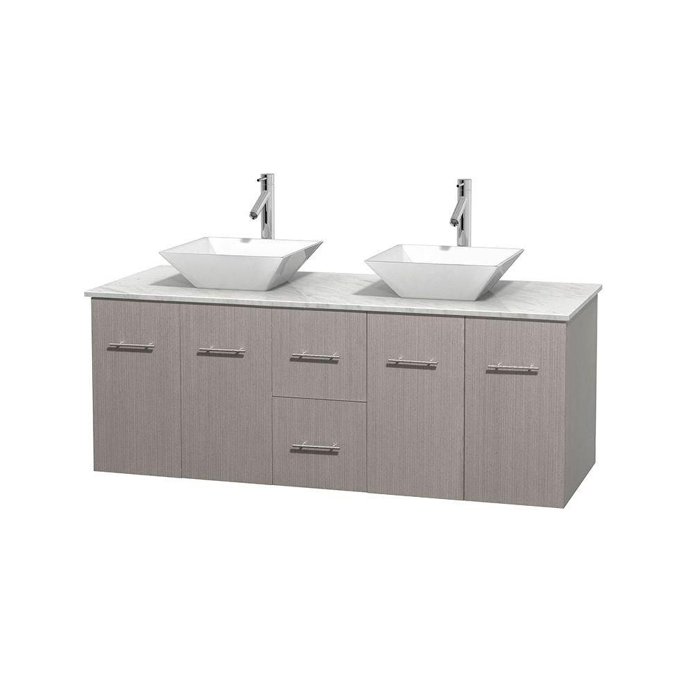 Centra 60-inch W Double Vanity in Grey Oak with White Top with White Basins