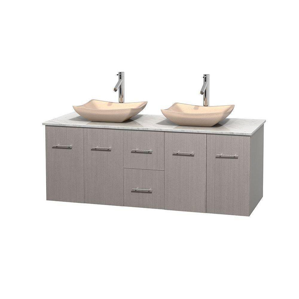 Meuble double Centra 60 po. chêne gris, comptoir blanc Carrare, lavabos ivoire, sans miroir