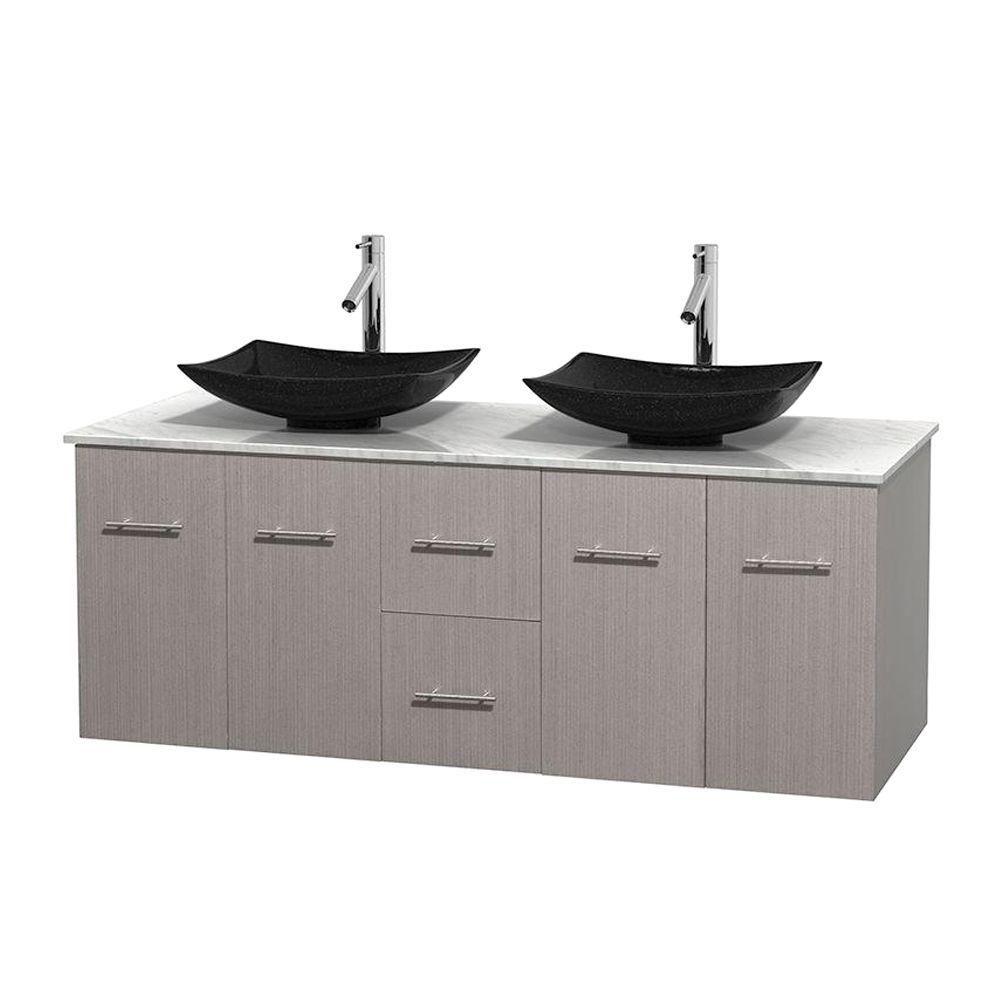 Meuble double Centra 60 po. chêne gris, comptoir blanc Carrare, lavabos granit noir, sans miroir