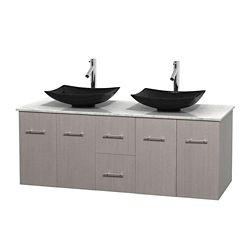 Wyndham Collection Meuble double Centra 60 po. chêne gris, comptoir blanc Carrare, lavabos granit noir, sans miroir