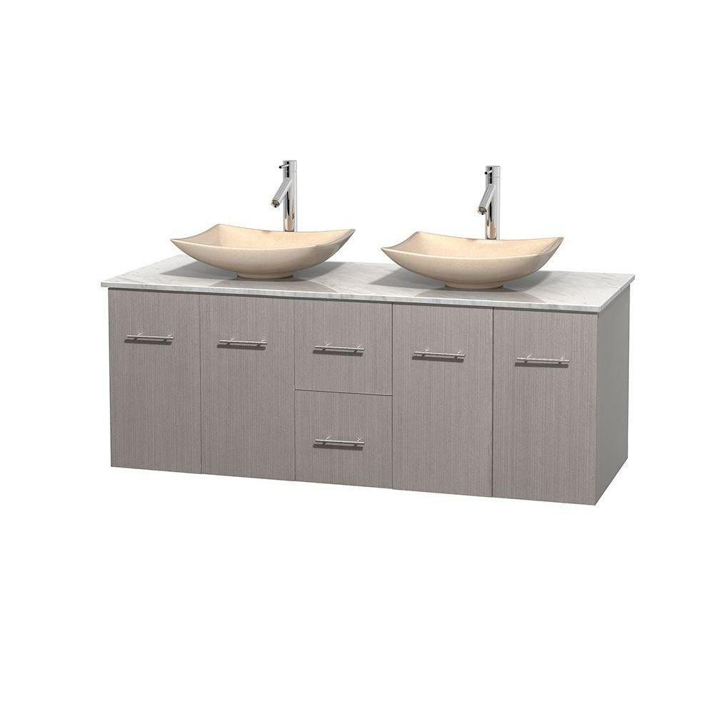 Centra 60-inch W Double Vanity in Grey Oak with White Top with Ivory Basins