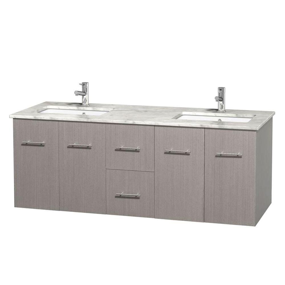 Centra 60-inch W Double Vanity in Grey Oak with White Top with Square Basins