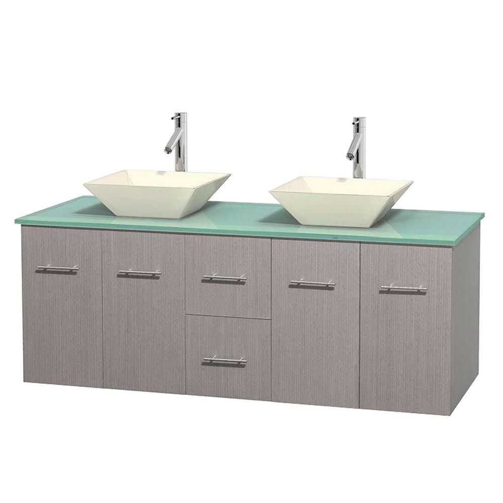 Centra 60-inch W Double Vanity in Grey Oak with Glass Top with Bone Basins