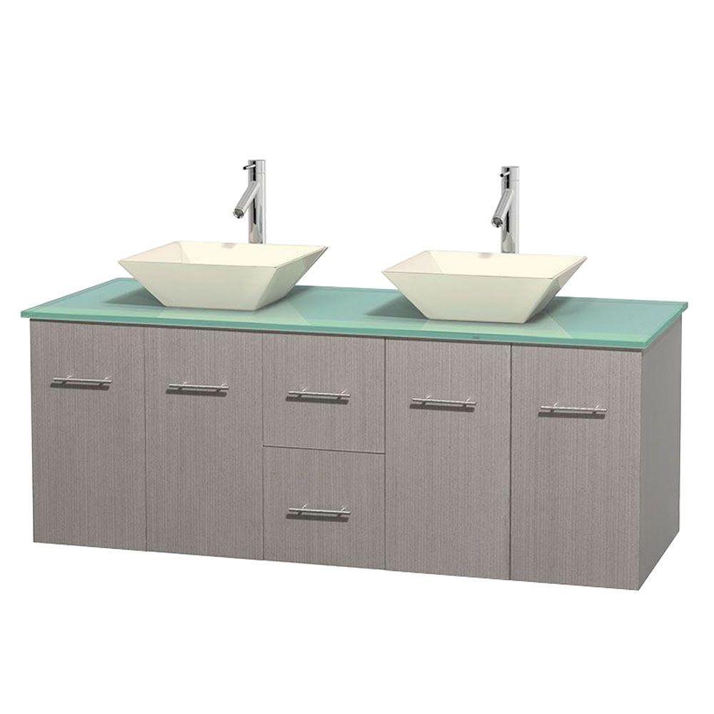 Meuble double Centra 60 po. chêne gris, comptoir verre vert, lavabos porcelaine bone sans miroir