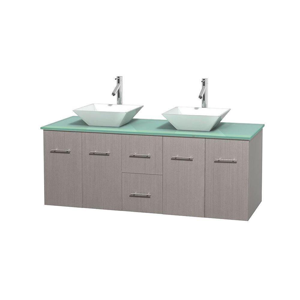 Meuble double Centra 60 po. chêne gris, comptoir verre vert, lavabos porcelaine blanche sans miro...