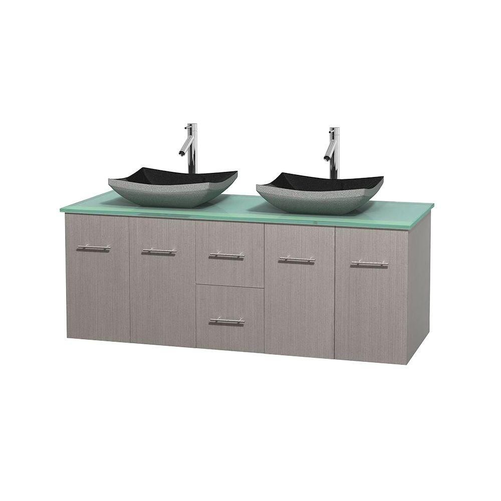 Meuble double Centra 60 po. chêne gris, comptoir verre vert, lavabos granit noir, sans miroir