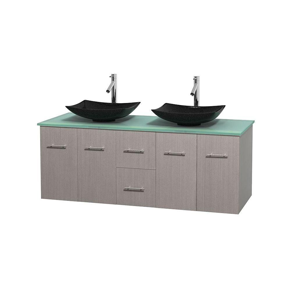 Centra 60-inch W Double Vanity in Grey Oak with Glass Top with Black Basins