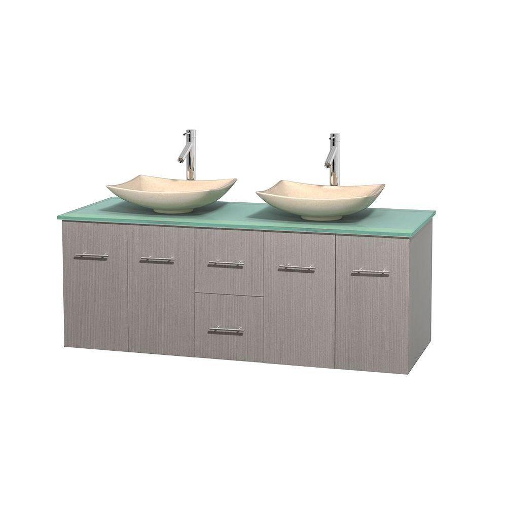 Meuble double Centra 60 po. chêne gris, comptoir verre vert, lavabos ivoire, sans miroir