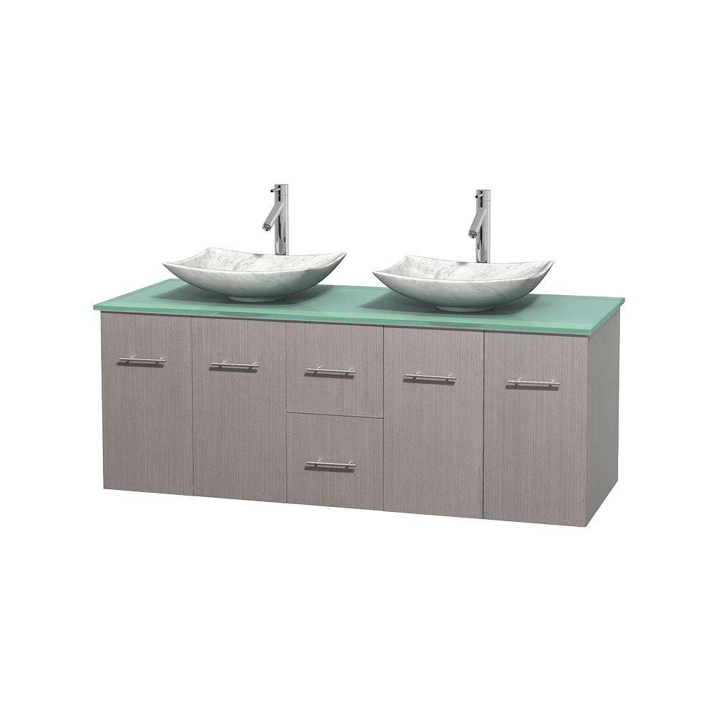 Centra 60-inch W Double Vanity in Grey Oak with Glass Top with White Basins