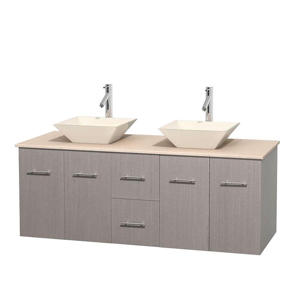 Centra 60-inch W Double Vanity in Grey Oak with Marble Top in Ivory with Bone Basins