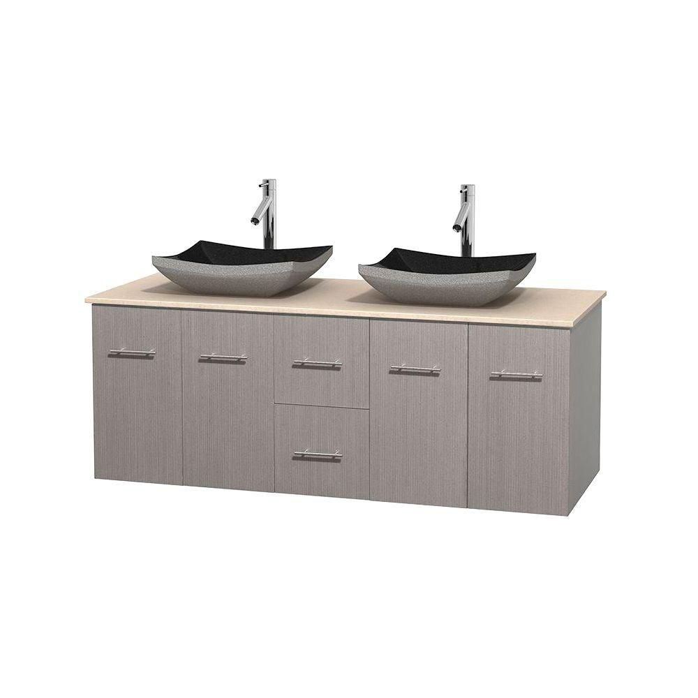 Centra 60-inch W Double Vanity in Grey Oak with Marble Top in Ivory with Black Basins
