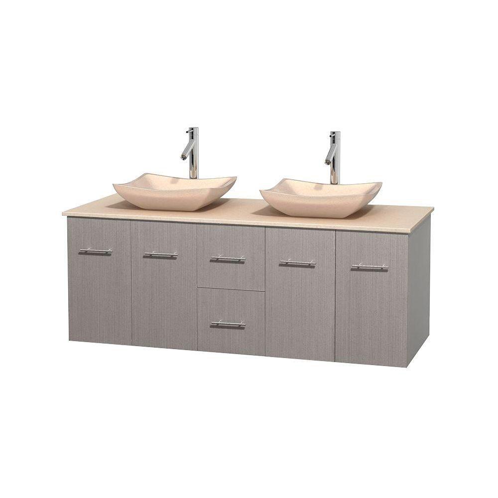 Meuble double Centra 60 po. chêne gris, comptoir marbre ivoire, lavabos ivoire, sans miroir