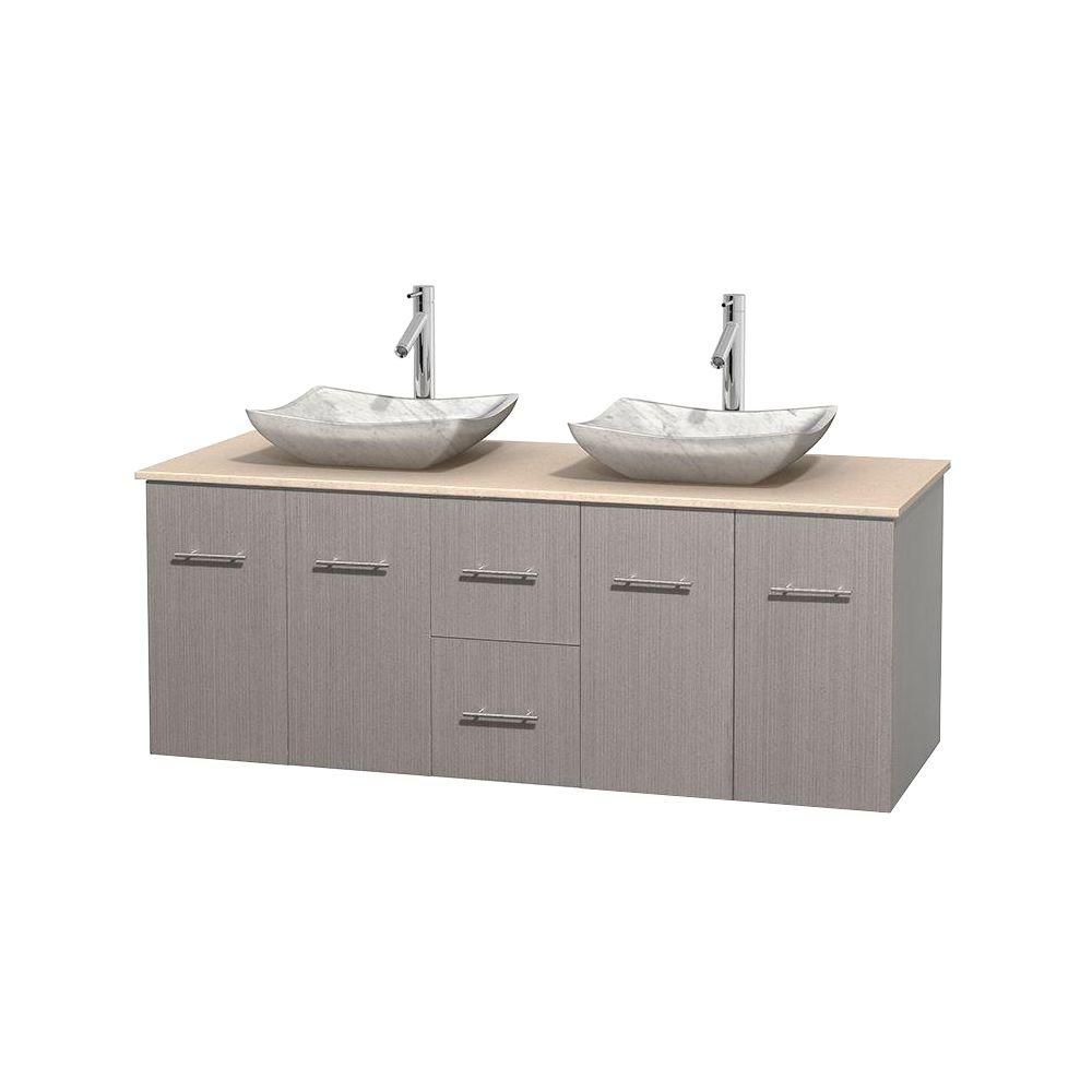 Centra 60-inch W Double Vanity in Grey Oak with Marble Top in Ivory with White Basins