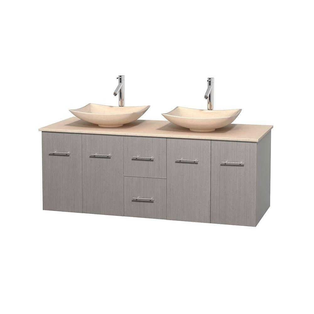 Centra 60-inch W Double Vanity in Grey Oak with Marble Top in Ivory with Ivory Basins