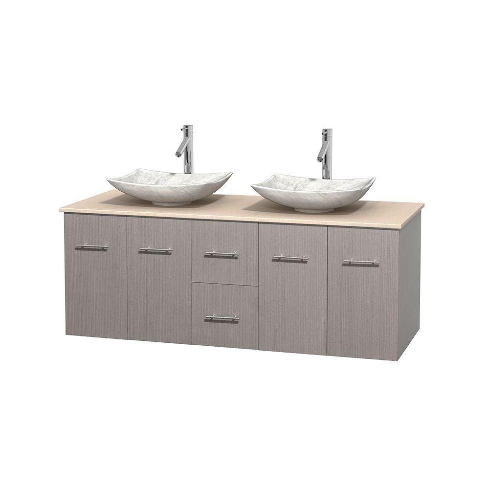 Wyndham Collection Meuble double Centra 60 po. chêne gris, comptoir marbre ivoire, lavabos blanc Carrare, sans miroir