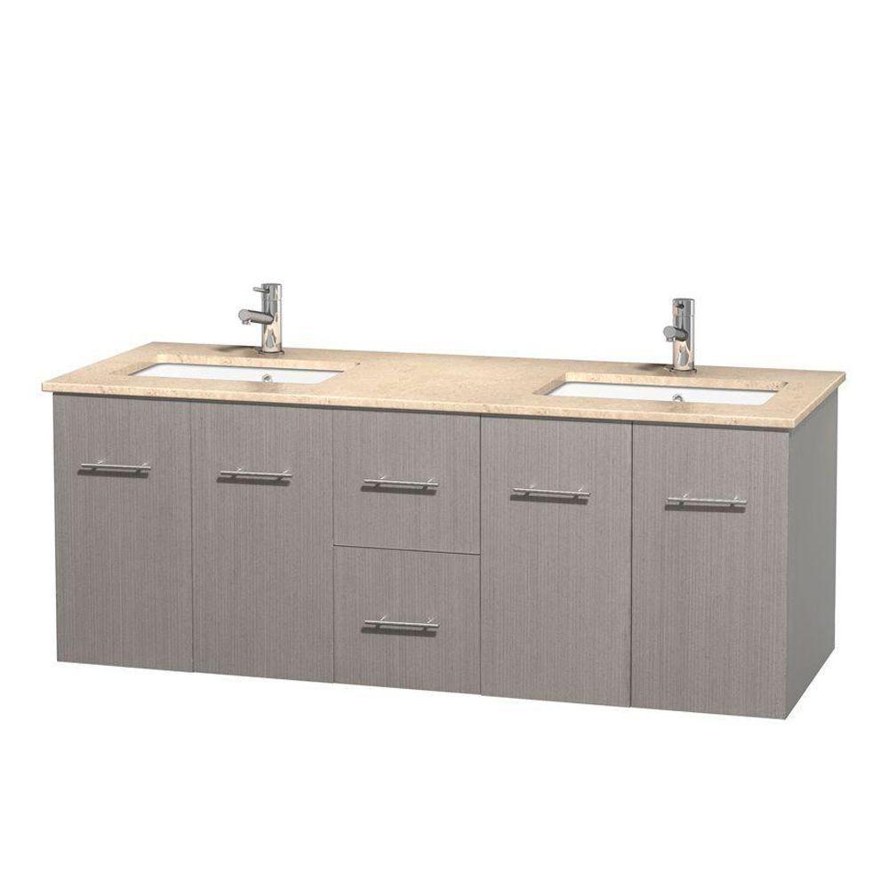 Meuble double Centra 60 po. chêne gris, comptoir marbre ivoire, lavabos carrés sans miroir