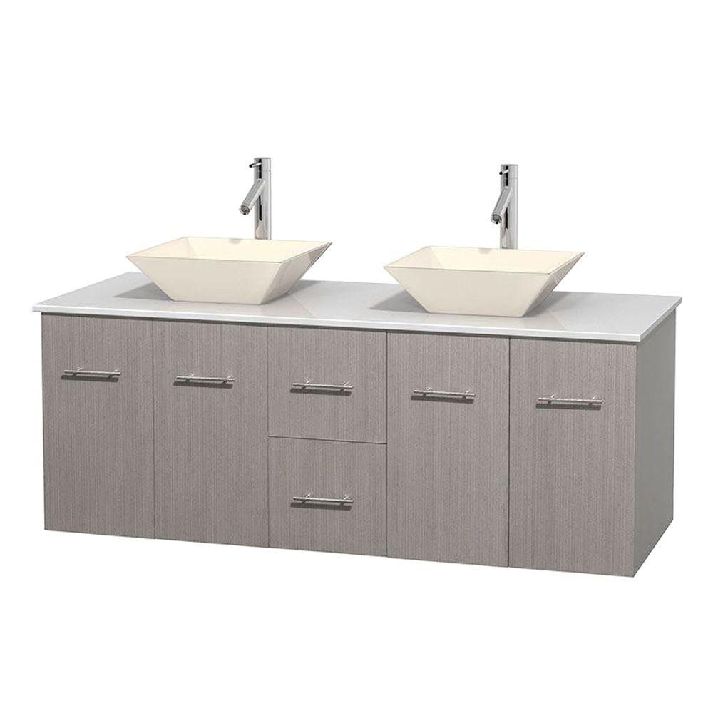 Meuble double Centra 60 po. chêne gris, comptoir solide, lavabos porcelaine bone sans miroir