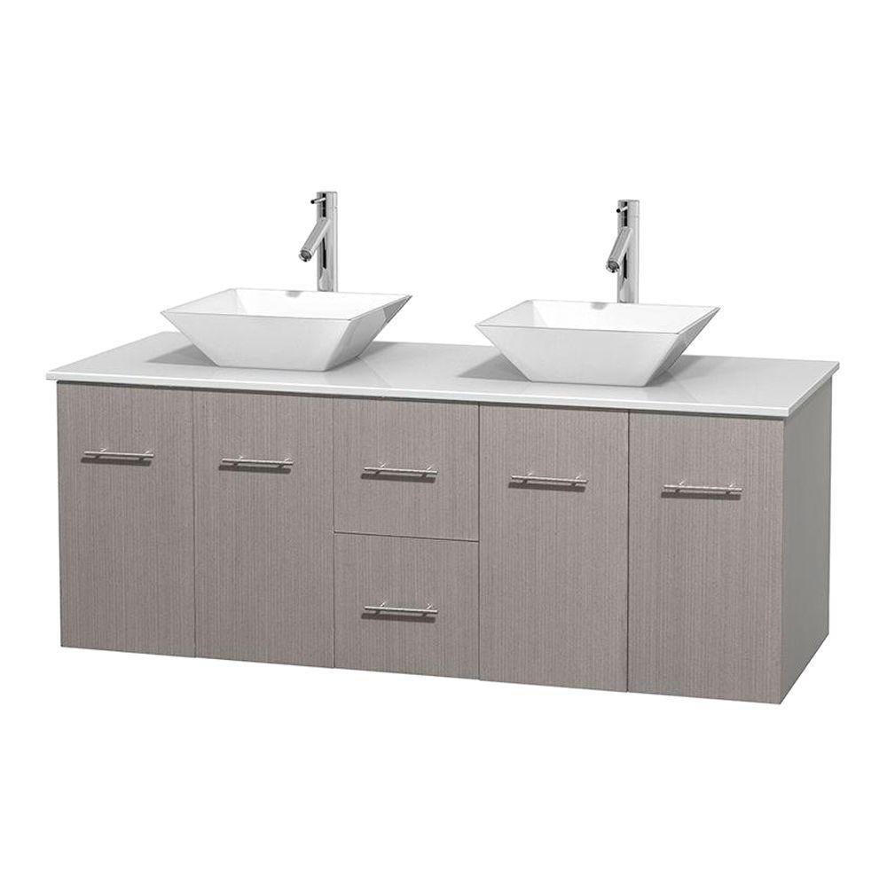 Meuble double Centra 60 po. chêne gris, comptoir solide, lavabos porcelaine blanche sans miroir