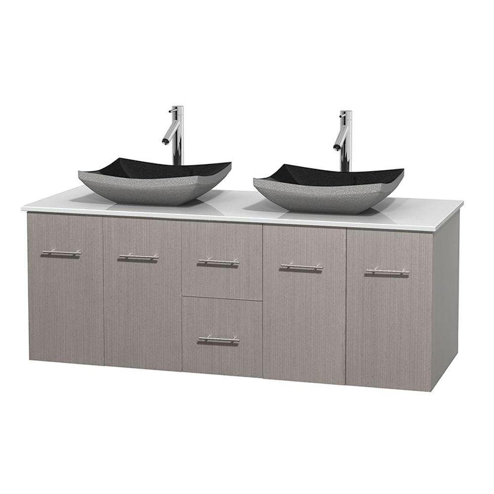Meuble double Centra 60 po. chêne gris, comptoir solide, lavabos granit noir, sans miroir