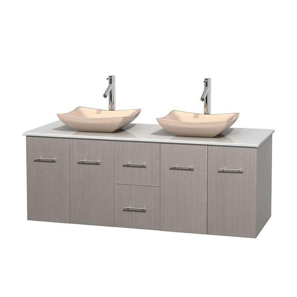 Centra 60-inch W Double Vanity in Grey Oak with Solid Top with Ivory Basins