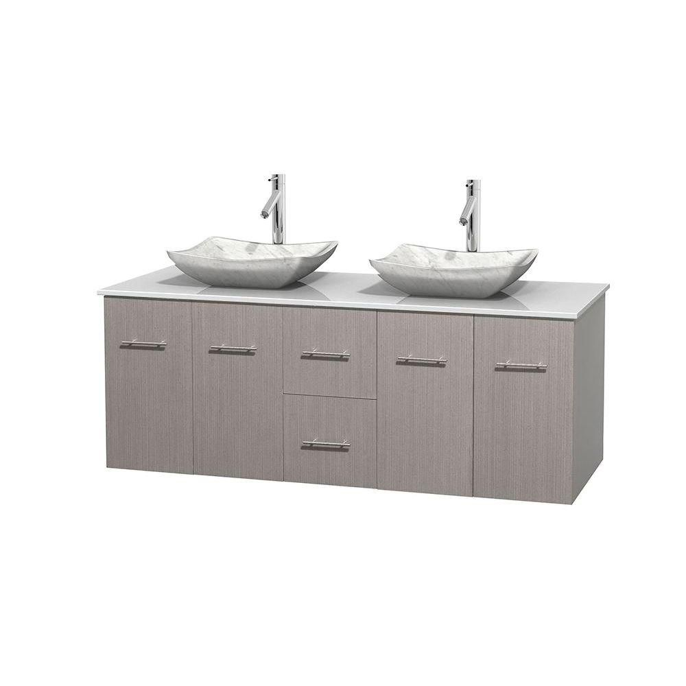 Wyndham Collection Centra 60-inch W 2-Drawer 4-Door Vanity in Grey With Artificial Stone Top in White, Double Basins