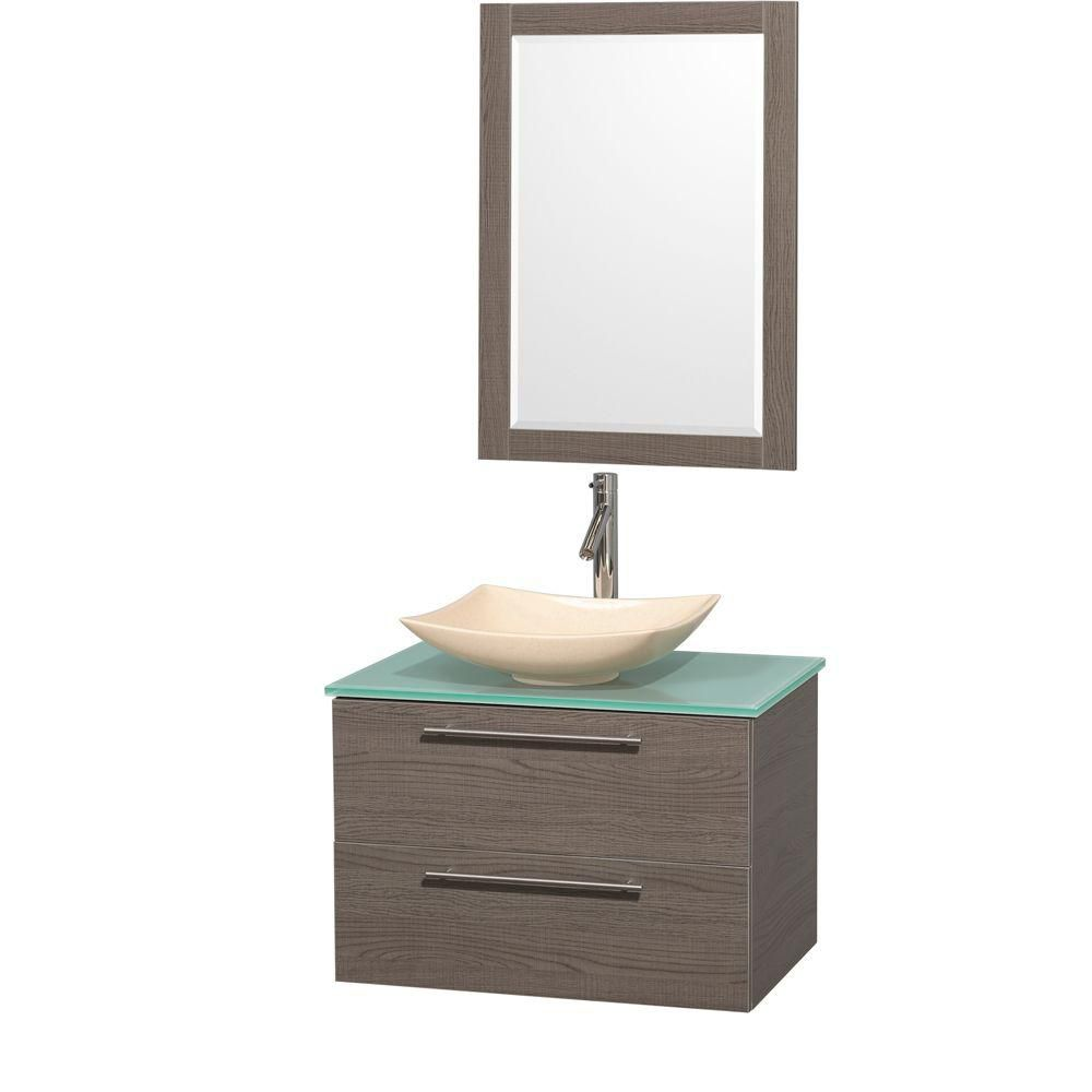 Amare 30-inch W Vanity in Grey Oak with Glass Top with Ivory Basin and Mirror