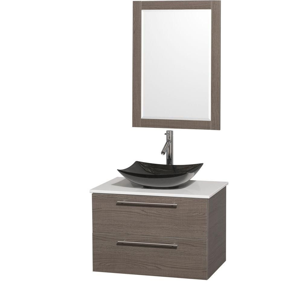 Amare 30-inch W Vanity in Grey Oak with Solid Top with Black Basin and Mirror