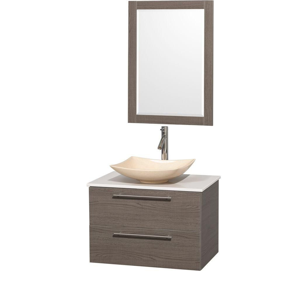 Amare 30-inch W Vanity in Grey Oak with Solid Top with Ivory Basin and Mirror