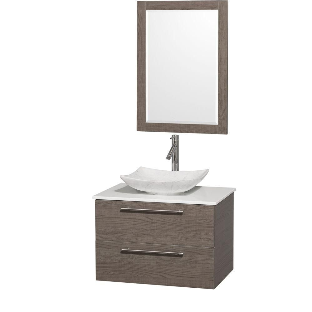 Amare 30-inch W Vanity in Grey Oak with Solid Top with White Basin and Mirror