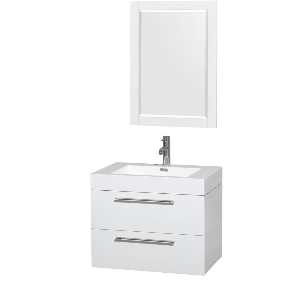 Wyndham Collection Amare 30-inch W 2-Drawer Wall Mounted Vanity in White With Acrylic Top in White With Mirror
