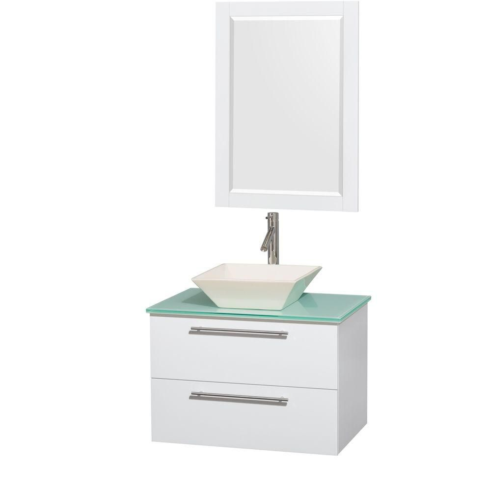 Amare 30-inch W Vanity in White with Glass Top with Bone Basin and Mirror