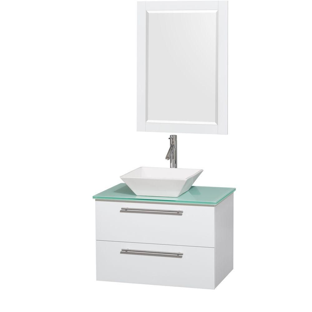 Amare 30-inch W Vanity in White with Glass Top with White Basin and Mirror