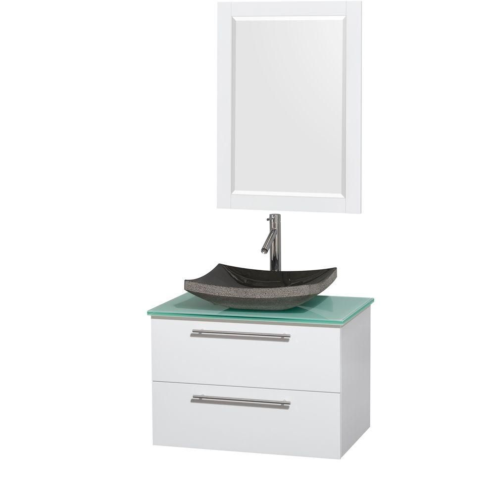 Wyndham Collection Amare 30-inch W 2-Drawer Wall Mounted Vanity in White With Top in Green With Mirror