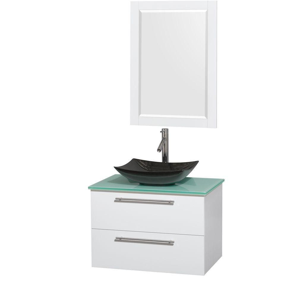 Amare 30-inch W Vanity in White with Glass Top with Black Basin and Mirror