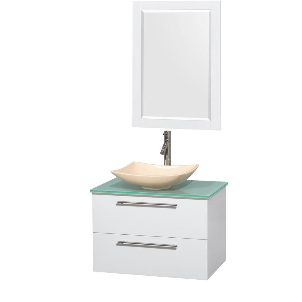 Amare 30-inch W Vanity in White with Glass Top with Ivory Basin and Mirror