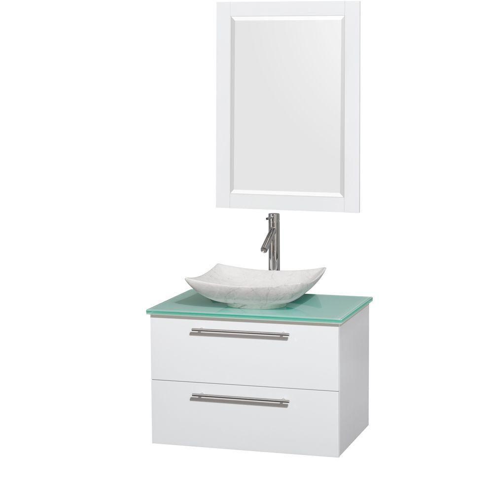 Amare 30 po Meuble laqué blanc avec revêtement en verre effet eau et évier en marbre de Carrare