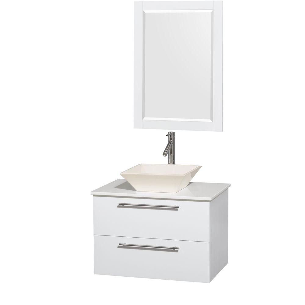 Amare 30-inch W Vanity in White with Solid Top with Bone Basin and Mirror