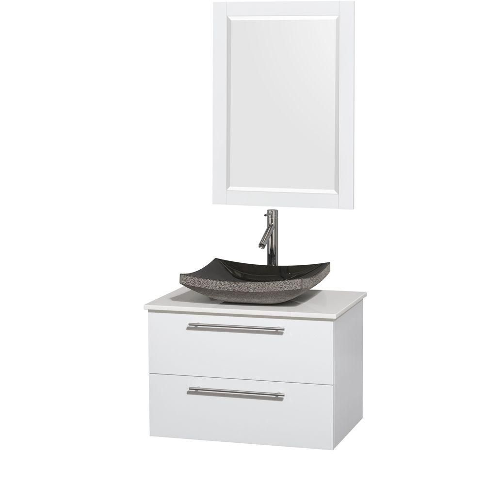 Amare 30-inch W Vanity in White with Solid Top with Black Basin and Mirror