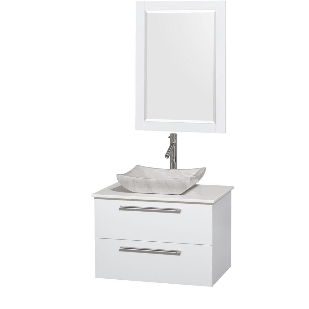 Amare 30-inch W Vanity in White with Solid Top with White Basin and Mirror