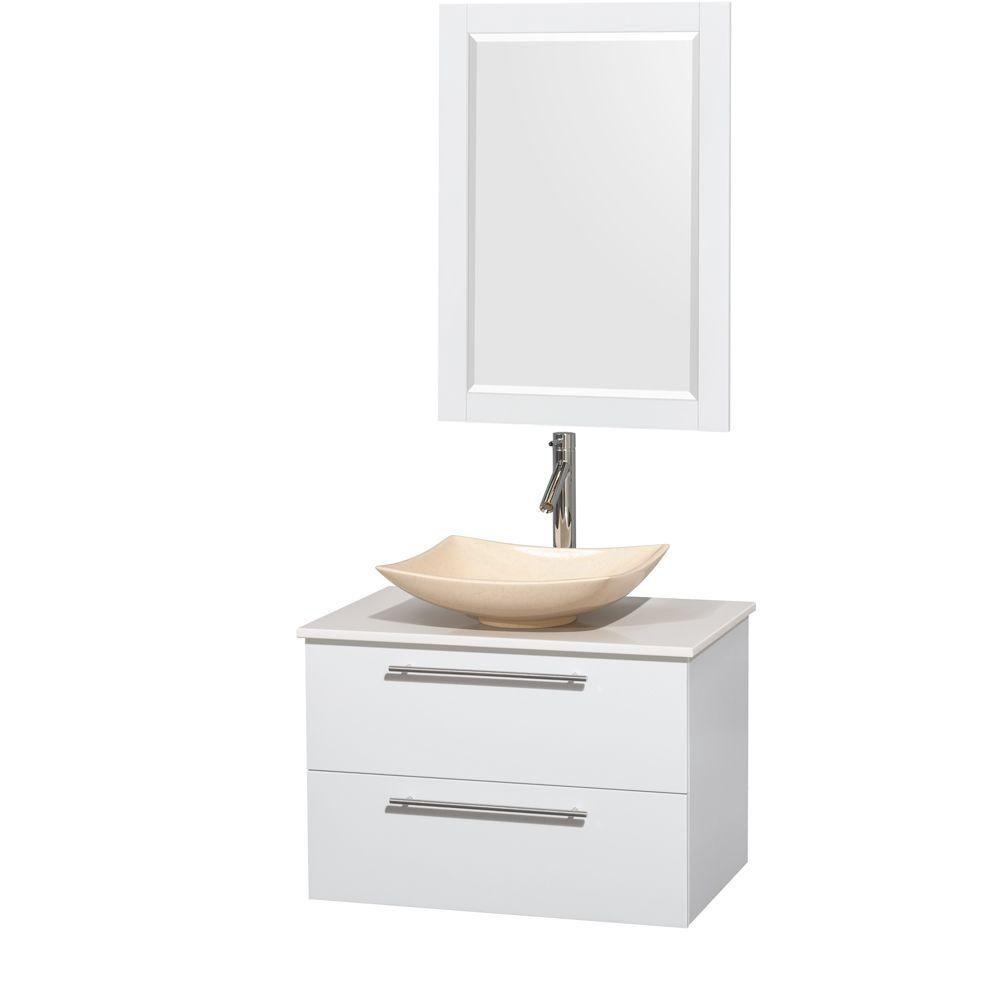Amare 30 po Meuble laqué blanc et revêtement blanc pierre artificielle et évier en marbre ivoire