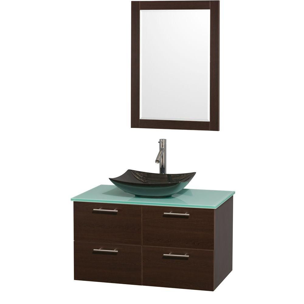 Amare 36-inch W Vanity in Espresso with Glass Top with Black Basin and Mirror