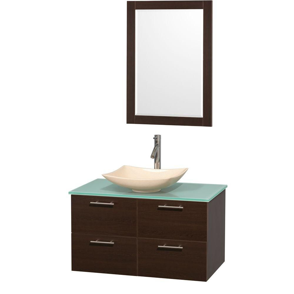 Amare 36-inch W Vanity in Espresso with Glass Top with Ivory Basin and Mirror