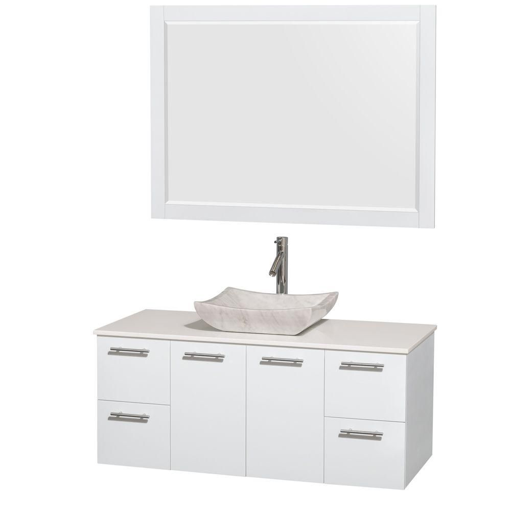 Amare 48-inch W Vanity in White with Solid Top with White Basin and Mirror