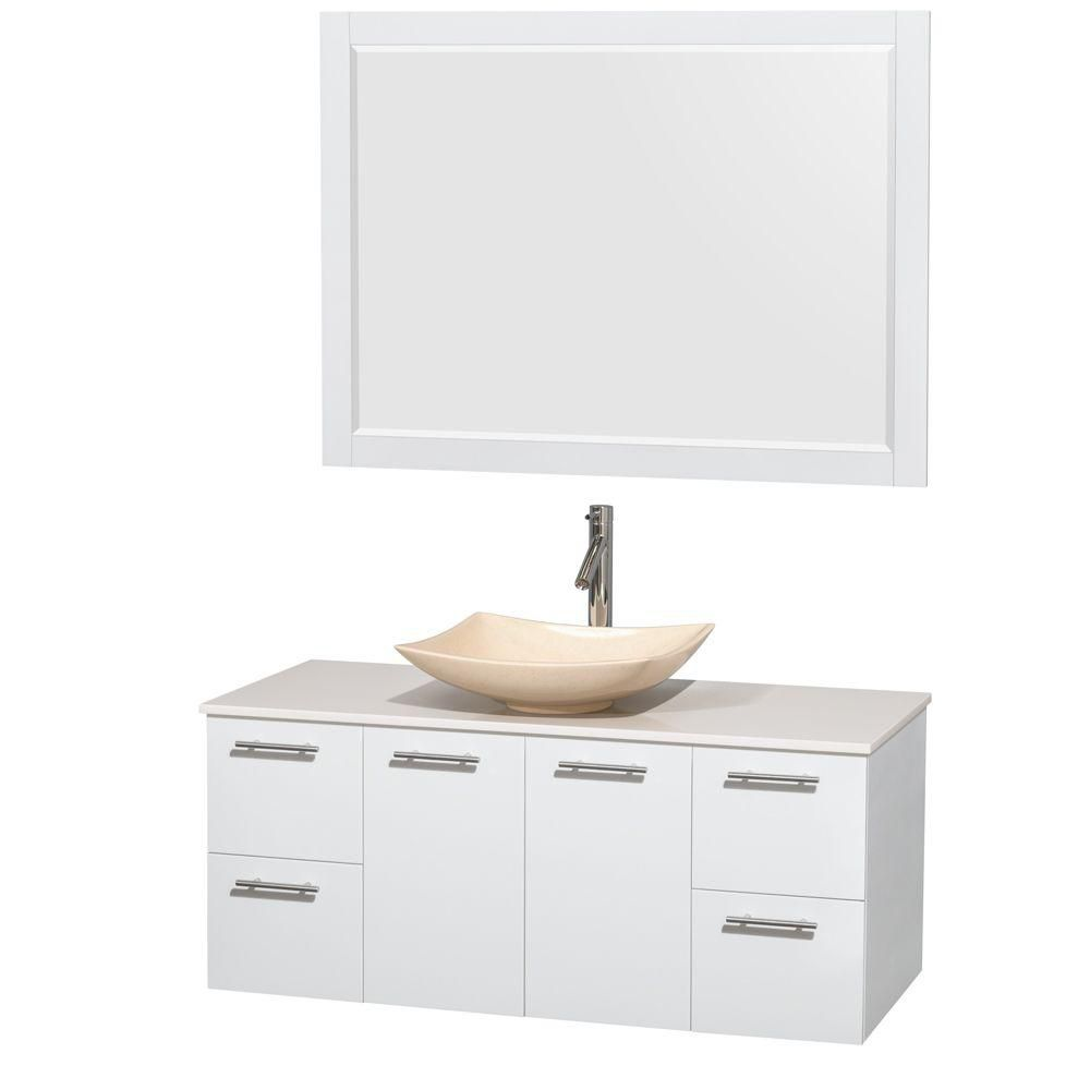 Amare 48-inch W Vanity in White with Solid Top with Ivory Basin and Mirror
