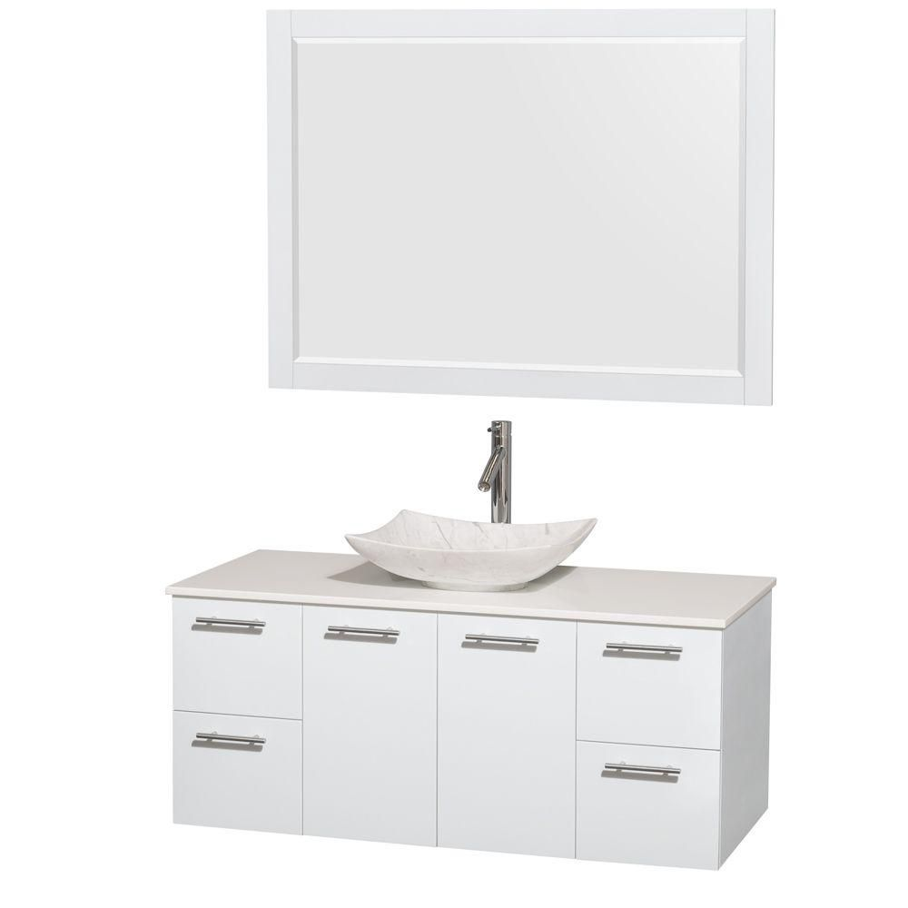Amare 48-inch W 2-Drawer 2-Door Wall Mounted Vanity in White With Artificial Stone Top in White